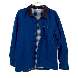 Columbia Men's Blue Button Up Shacket With A Plaid Lining Medium